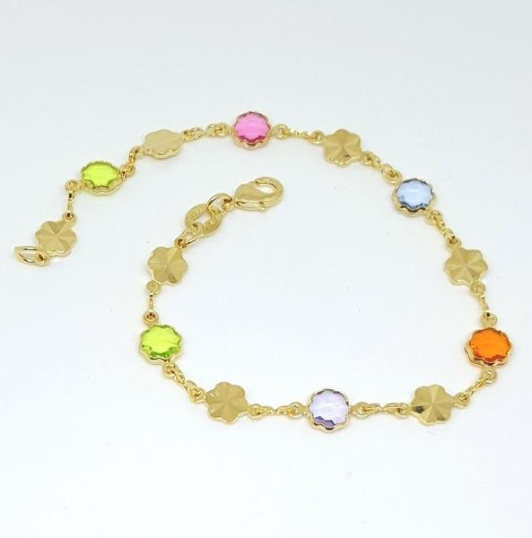 1-0586-f6 18kt Brazilian Gold Layered Multicolor Flower Bracelet. 7.75