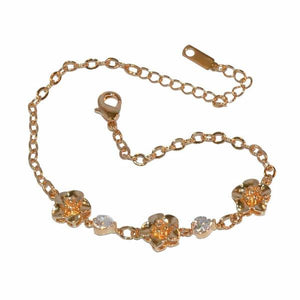 "1-0640-f1 Gold Plated Rose and Crystal Bracelet, 7.5"" to 9"" adjustable length, 10mm flowers,"