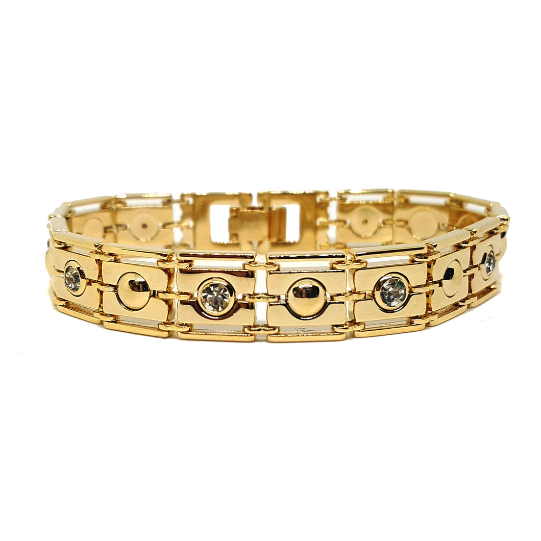 (1-0647-1-h5) Gold Plated Crystals and Circles Bracelet, 7-1/2