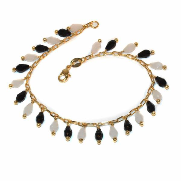1-0668-f1 Gold Layered Black and White Charm Bracelet, 7.75