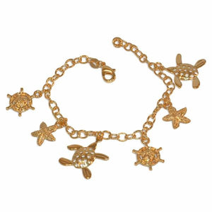 "1-0678-e10 Gold Plated Beach Charms Bracelet. 7-1/2"", 4.5mm links, 15mm charms."