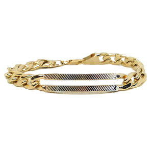 "(1-0916-h5) Gold Plated Cuban Link Bracelet with Three Tone ID Bar, 7-3/4"" Slim Fit."
