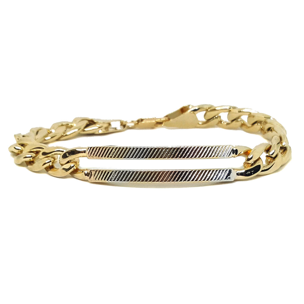 (1-0916-h5) Gold Plated Cuban Link Bracelet with Three Tone ID Bar, 7-3/4