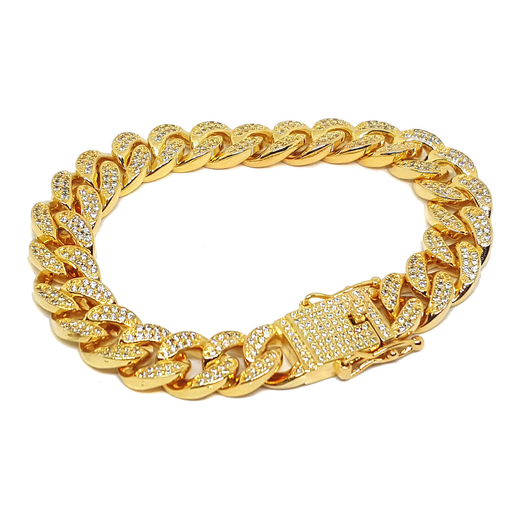 (1-0961-h7-1) Gold Plated Iced Out Cuban Link Bracelet.