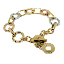 "(1-0976-h5) Gold Overlay Three Tone Circles Bracelet, 7""-8""."
