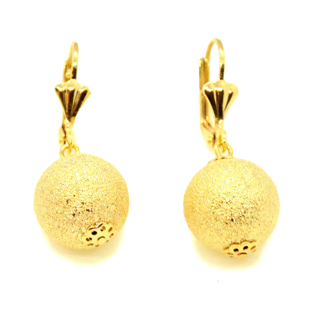 (1-1036-h10-2) Gold Overlay Sand Blast Ball Drop Earrings, 14 mm.