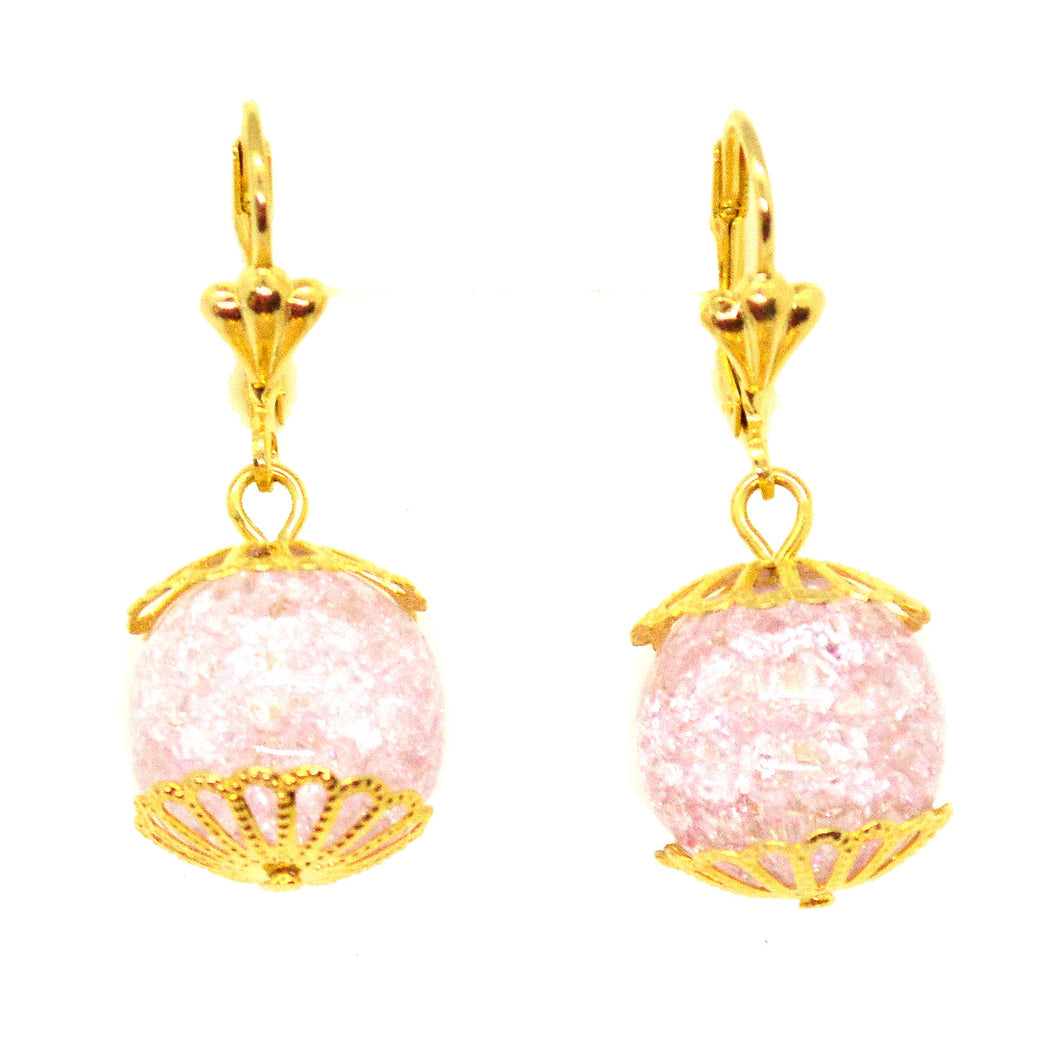 (1-1038-h10) Gold Overlay Pink Ice Stone Drop Earrings, 14 mm.