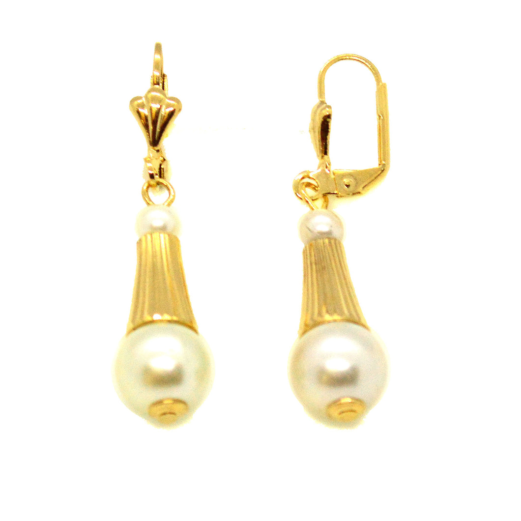(1-1039-h10) Gold Overlay Pearl Drop Earrings, 1-3/4