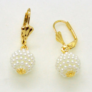 "(1-1044-h10) Gold Overlay Micro Pearl Drop Earrings, 1-1/4""."