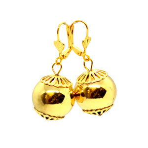 (1-1066-h9) Gold Plated Drop ball Earrings, 17mm.