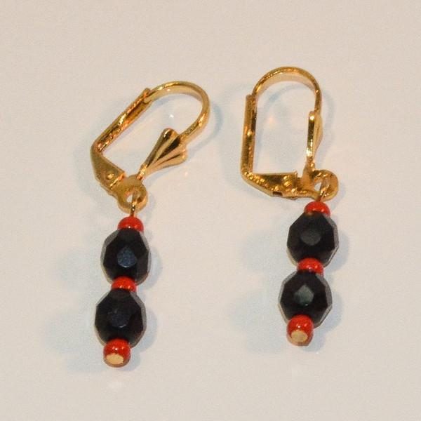 1-1070-e8 Gold Plated Azabache Earrings with Red Bead End. 1.5