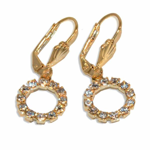 1-1182-e9 Gold Plated Drop Circle Earrings with Crystals. 1-1/4
