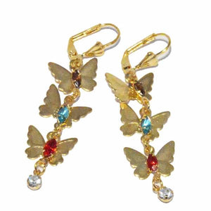 1-1196-f3 18kt Brazilian Gold Layered Drop Butterfly Earrings with Multicolor Stones