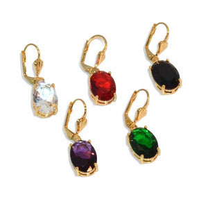"1-1202-e8 Gold Plated Drop Oval CZ Earrings. 1.25"" in length."