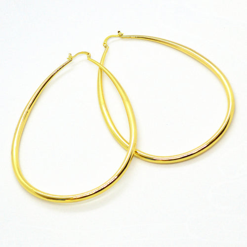 (1-2897-h12) Gold Overlay Tear Drop Shape Hoops, 70x95 mm.