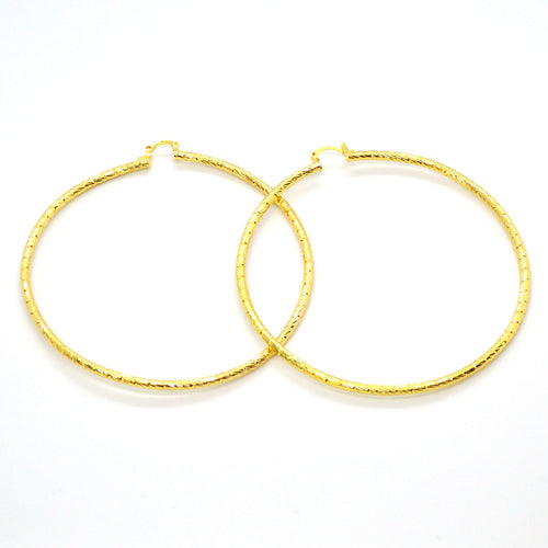 (1-2898-h12) Gold Overlay Diamond Cut Xtra Large Hoops, 90 mm.