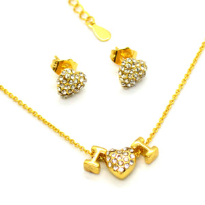 (1-6315-h12) Gold Plated Heart Necklace and Earrings Set.