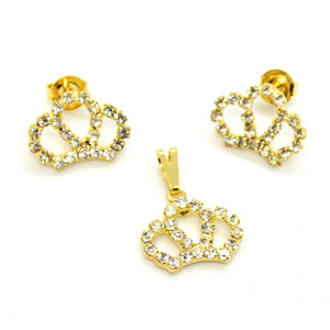 (1-6372-h12) Gold Overlay Crystals Crown Earring and Pendant Set.