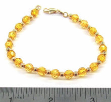 1-0567-A1 Gold Overlay Yellow Beaded Bracelet, 7-1/2""