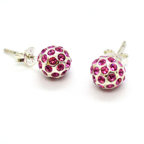 (2-3062-h10) Sterling Silver Pink Fireball Studs, 8 mm.