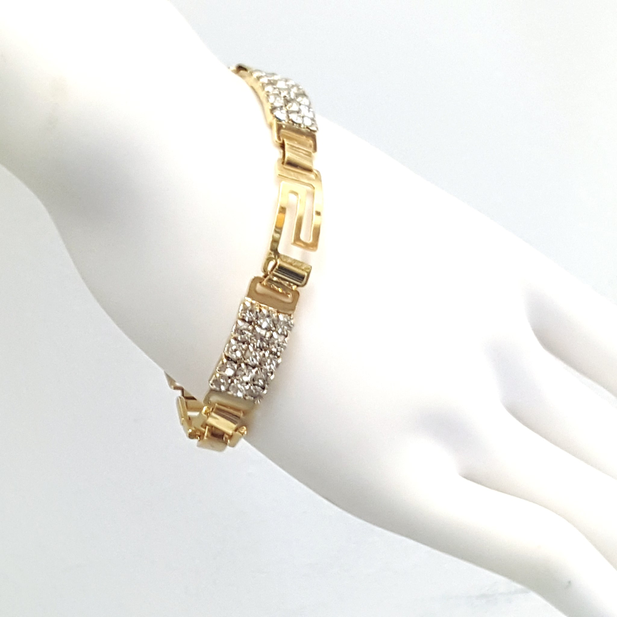 yellow tone langlois diamond s and gold design rose en dame cut bracelet