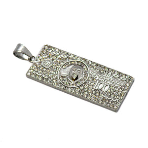 "(4-2370-h9) Stainless Steel Iced Out $100 Bill Pendant, 3""."