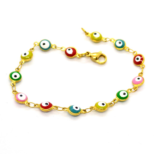 (4-4014-h11) Gold Plated Stainless Steel Evil Eye Bracelet, 7-1/4