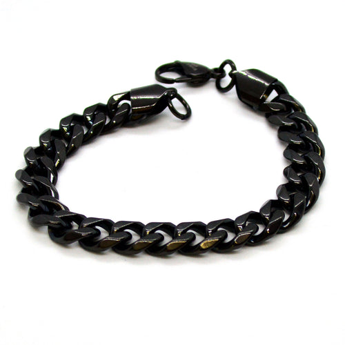 (4-4027-h11) Black Coated Stainless Steel Cuban Link Bracelet, 8-1/2