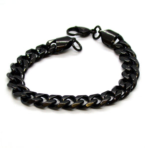 "(4-4027-h11) Black Coated Stainless Steel Cuban Link Bracelet, 8-1/2""."