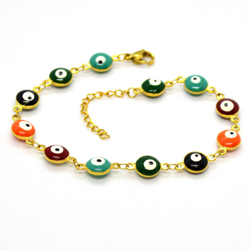 (4-4028-h11) Stainless Steel Evil Eye Bracelet, 8 mm (2 finishes available).