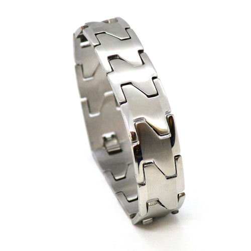 (4-4031-h11) Stainless Steel Wide Link Bracelet, 8