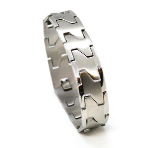 "(4-4031-h11) Stainless Steel Wide Link Bracelet, 8""."