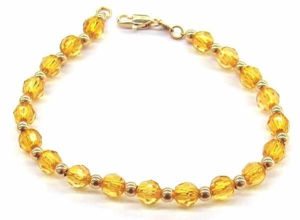 1-0567-A1 Gold Overlay Yellow Beaded Bracelet, 7-1/2