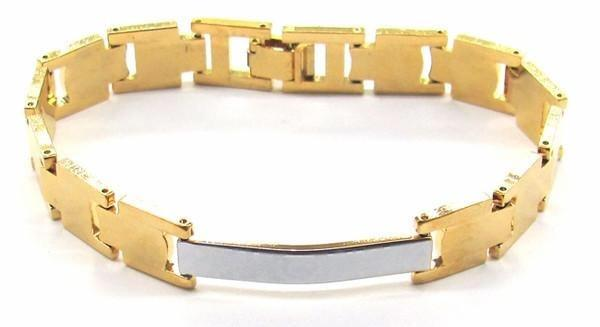 1-0541-A1 Gold Overlay Two Tone ID Bracelet for Women, 7-1/2