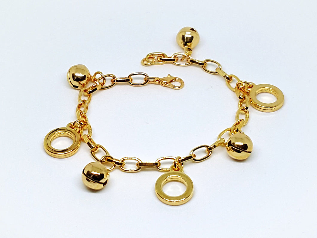 1-0933-g5 Gold Plated Charm Bracelet with Bells.