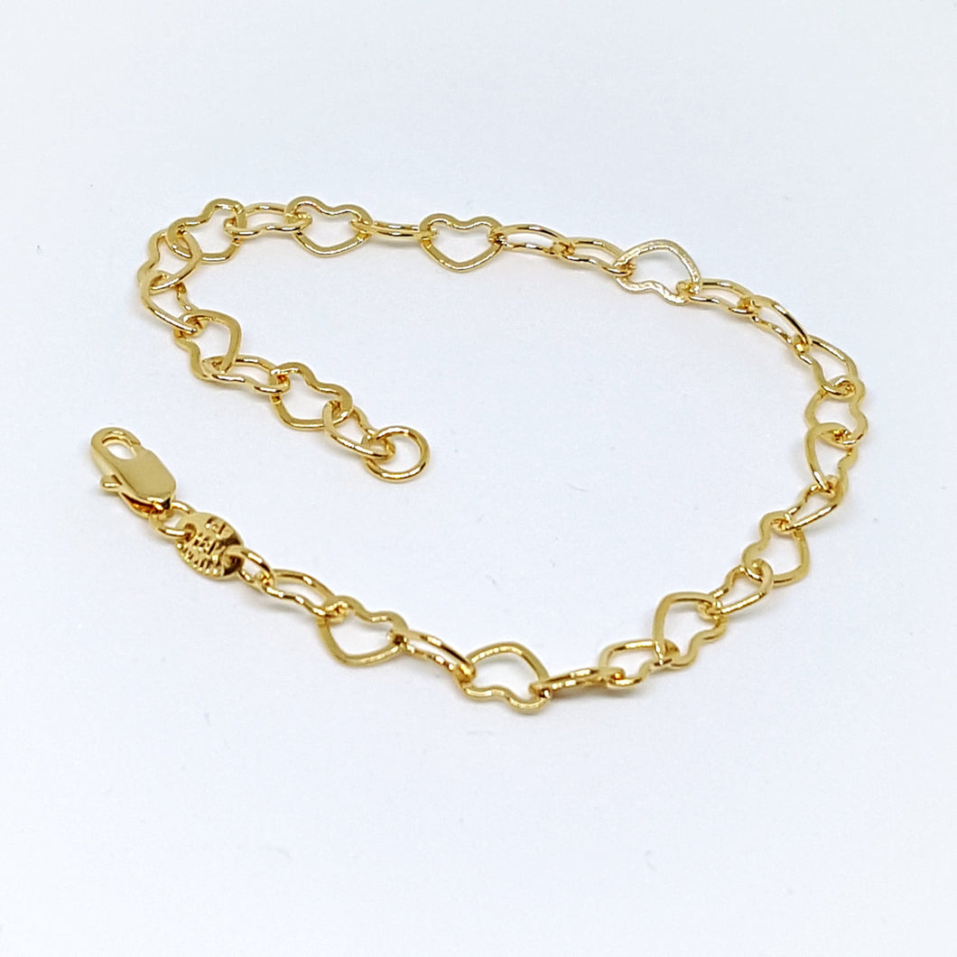 1-0453-g5 Gold Filled Hearts Link Bracelet.