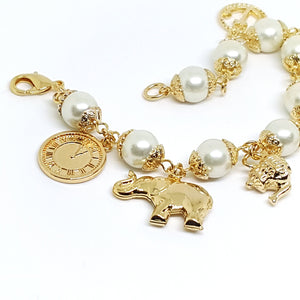 1-0969-g5 Gold Overlay Oversized Charm Bracelet with Pearls.