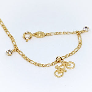 1-0690-g7 Gold Filled Bicycle Charms Bracelet.