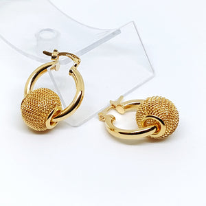 1-1052-g10 Gold Overlay Hoops Earrings with Slide Charm.