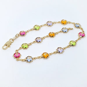 1-0128-g10 Gold Filled Multicolor Stone Lady Bug Anklet.