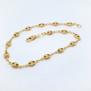 "1-0049-h1 18kt Gold Filled Puff Mariner Anklet, 5mm, 10"" inches."