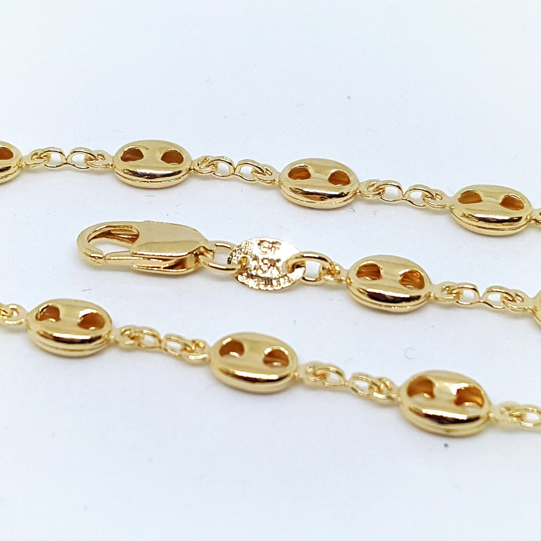 1-0049-h1 18kt Gold Filled Puff Mariner Anklet, 5mm, 10
