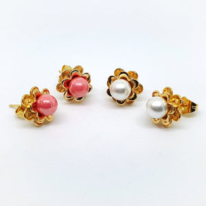 1-1006-h1 Gold Plated Pearl Earrings with Flower Base. (2 colors available)