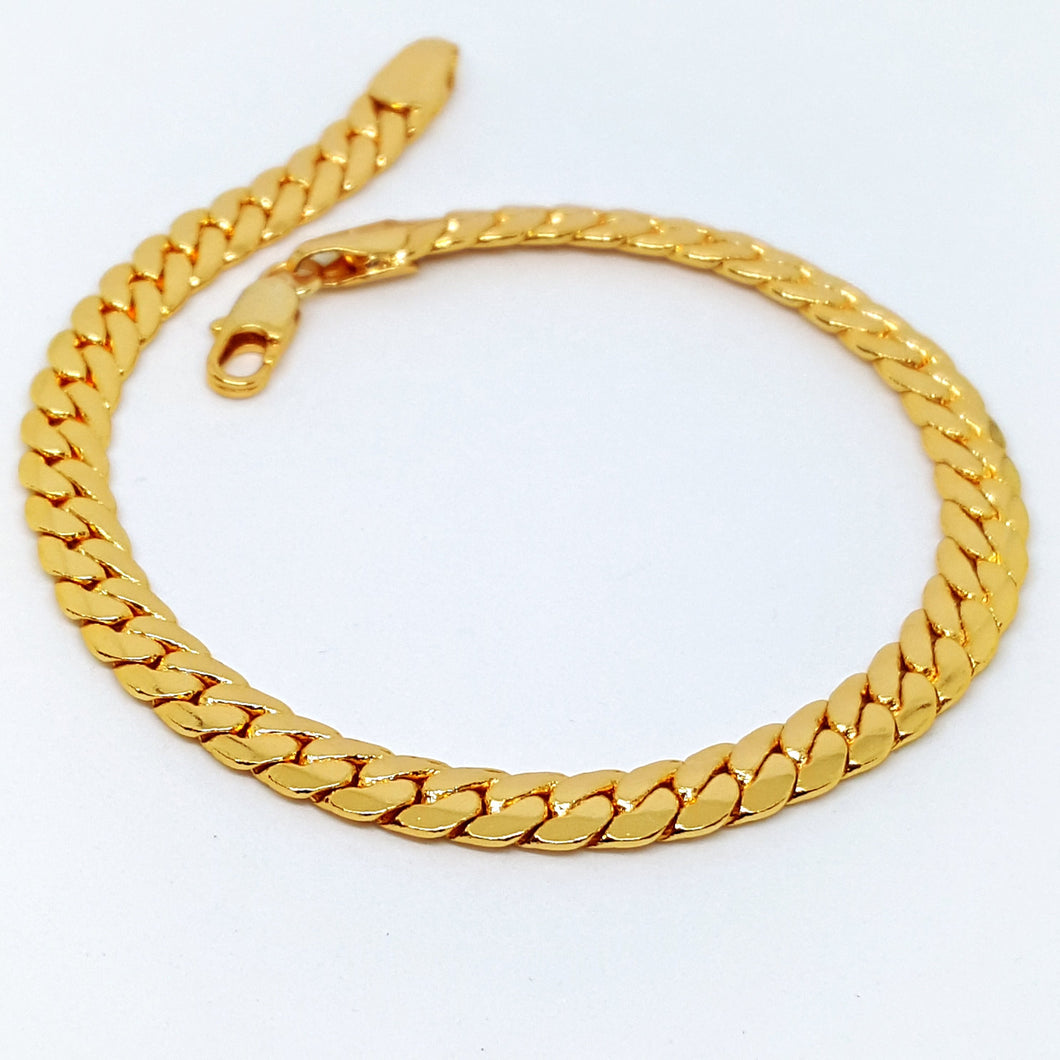 1-0031-h1 Gold Plated Cuban link Anklet. 10-3/4