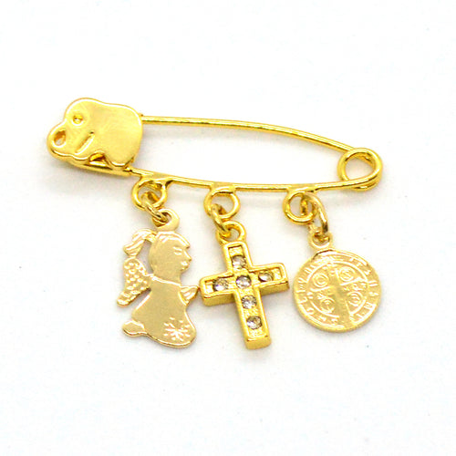 (mpin-03-h12) Gold Plated Pacifier Pin with Charms.