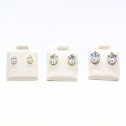 (slv-cz-OVL) Sterling Silver Oval CZ (Cubic Zircon) Stud Earrings.