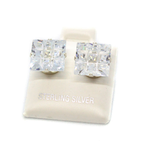 (slv-cz-9CT-SQR) Sterling Silver Square 9-Cut CZ (Cubic Zircon) Stud Earrings.