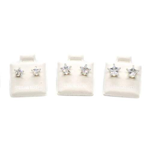 (slv-cz-STR) Sterling Silver Star CZ (Cubic Zircon) Stud Earrings.