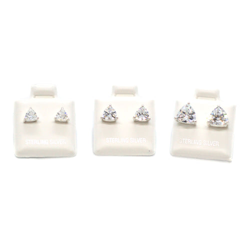 (slv-cz-TRG) Sterling Silver Triangular CZ (Cubic Zircon) Stud Earrings.