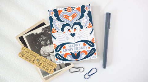 colorful happy anniversary card by exit343design